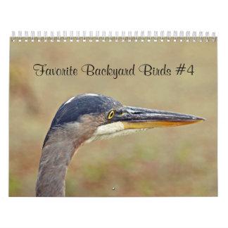 Pássaros favoritos do quintal do calendário
