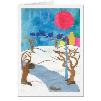 Pássaros no Central Park no inverno Cartão Comemorativo