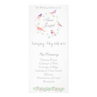 Pássaros rústicos do amor que wedding o programa 10.16 x 22.86cm panfleto