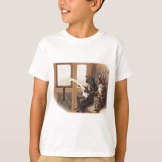 Passeio do trem do gatinho t-shirts