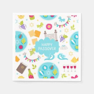 Passover feliz moderno colorido guardanapo de papel