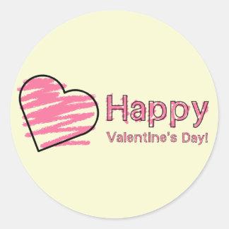 Pastel cor-de-rosa do coração do feliz dia dos adesivo