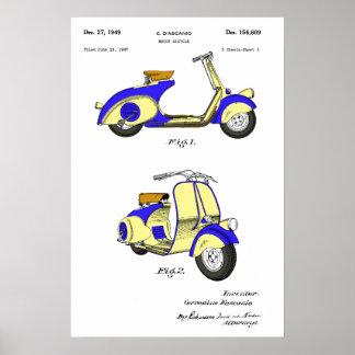 Patente da bicicleta do motor cerca de 1949 - azul pôster