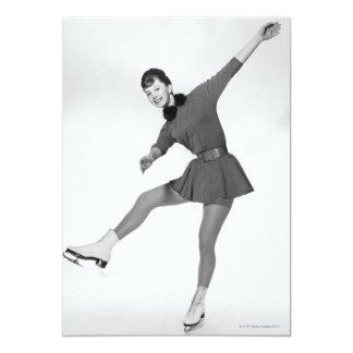 Patinagem artística da mulher convite 12.7 x 17.78cm
