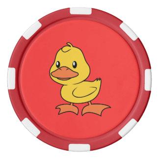 Patinho amarelo bonito feliz fichas de poker