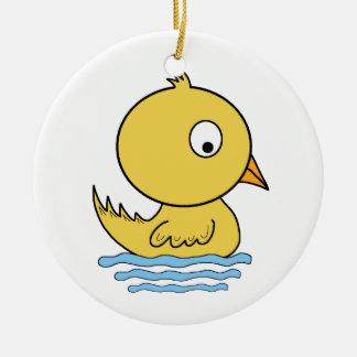 Pato amarelo dos desenhos animados ornamento de cerâmica redondo