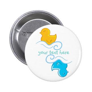 pato de borracha amarelo e azul botons
