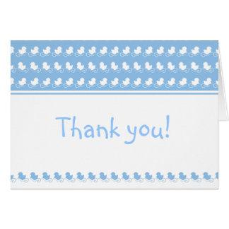 patos azuis em cartões de agradecimentos do chá de