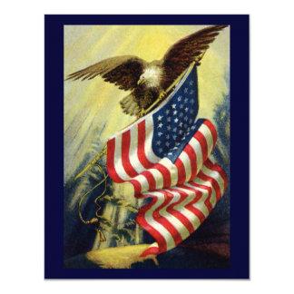 Patriotismo do vintage, bandeira americana convite 10.79 x 13.97cm