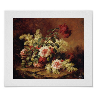Paul de Longpre_roses-and-mahogany Pôster