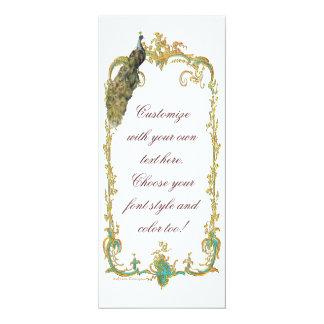 Pavão com o cartão barroco do convite do quadro do convite 10.16 x 23.49cm
