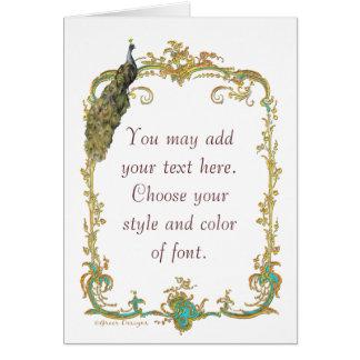 Pavão com o cartão ornamentado do impressão da art