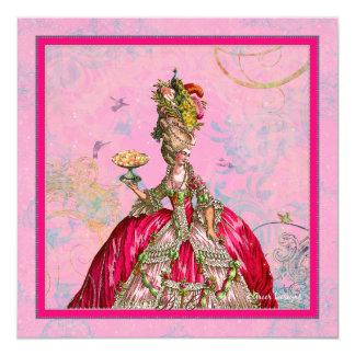 Pavão de Marie Antoinette e rosa quente Convite Quadrado 13.35 X 13.35cm