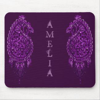 Pavão do Henna (violeta) Mouse Pad