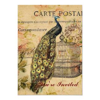 pavão floral botânico francês do vintage do convite 12.7 x 17.78cm