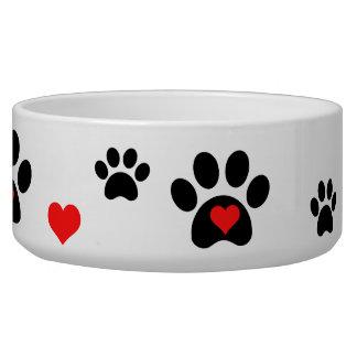 Pawprints e bacia do cão dos corações tijelas para comida de cachorros
