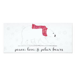 """Paz, amor, cartão dos ursos polares convite 10.16"""" x 23.49cm"""