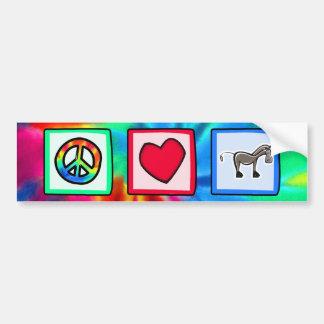Paz, amor, cavalos adesivo para carro
