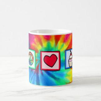 Paz, amor, cupcakes caneca de café