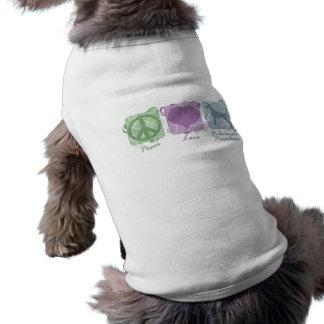 Paz, amor, e Pinschers Pastel do Doberman Camisa Sem Mangas Para Cachorro