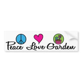 Paz. Amor. Jardim autocolantes para automóveis
