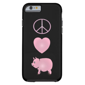 Paz, amor, porcos, iPhone cor-de-rosa 6/6s do Capa Tough Para iPhone 6