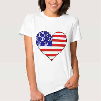 paz, coração da bandeira americana tshirt