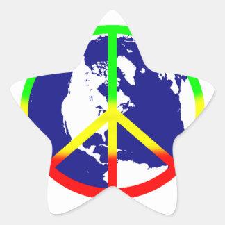 Paz de mundo de Rasta Adesivos Estrelas