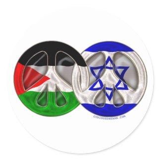 Paz de Palestina - de Israel Adesivos Redondos
