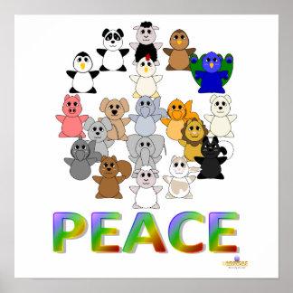 Paz Huggable do sinal de paz dos animais Impressão