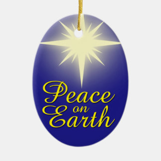 Paz no ornamento do feriado da estrela do Natal da