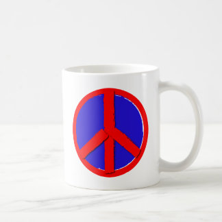 Paz - vermelho, branco e azul caneca de café