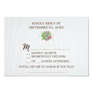 Pedido floral rústico RSVP da canção do Succulent Convite 8.89 X 12.7cm