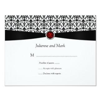 Pedra preciosa branca preta RSVP do rubi Convite 10.79 X 13.97cm