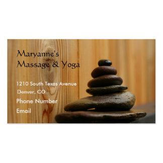 Pedras e madeira da massagem cartão de visita