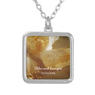 Pedras preciosas preciosas casamento personalizado colar banhado a prata