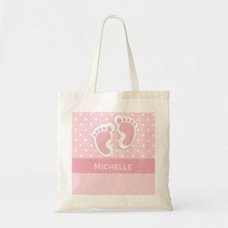 Pegada & nome das bolinhas do rosa do saco do bebé bolsa tote