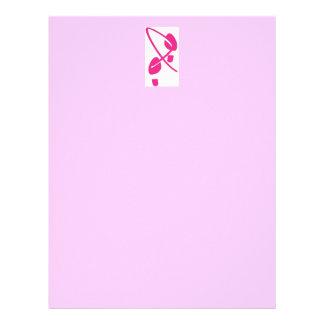 Pegadas da fita do rosa da consciência do cancro papel timbrado