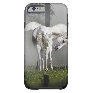Pegasus de prata Preens na arte enevoada da Capa Tough Para iPhone 6
