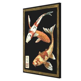 Peixe dourado de Koi de dois japoneses no fundo