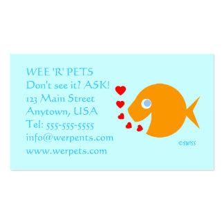 Peixe dourado tropical dos olhos azuis da loja dos cartão de visita