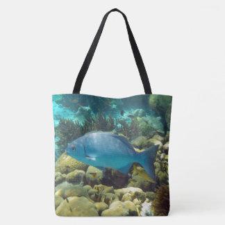 Peixes azuis do recife bolsas tote
