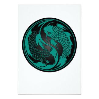 Peixes azuis e pretos da cerceta de Yin Yang Koi Convite