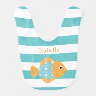 Peixes bonitos da laranja e do Aqua Babadores Infantis