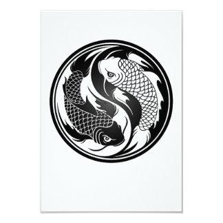 Peixes brancos e pretos de Yin Yang Koi Convite 8.89 X 12.7cm
