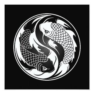 Peixes brancos e pretos de Yin Yang Koi Convite