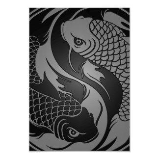 Peixes cinzentos e pretos de Yin Yang Koi Convite Personalizado