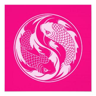 Peixes cor-de-rosa de Yin Yang Koi Convites