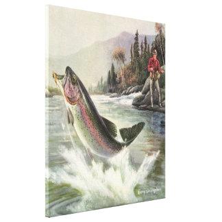 Peixes da truta de arco-íris da pesca do pescador