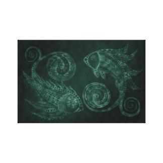 Peixes de Paisley do Verdigris Impressão Em Tela
